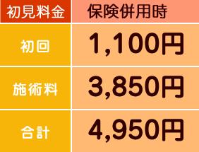 保険併用時:初回1000円